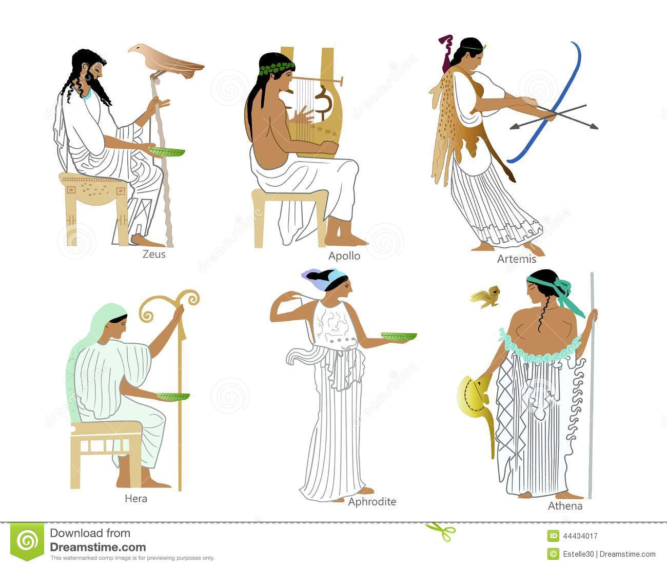 A Set Of Ancient Greek Gods And Goddesses Stock