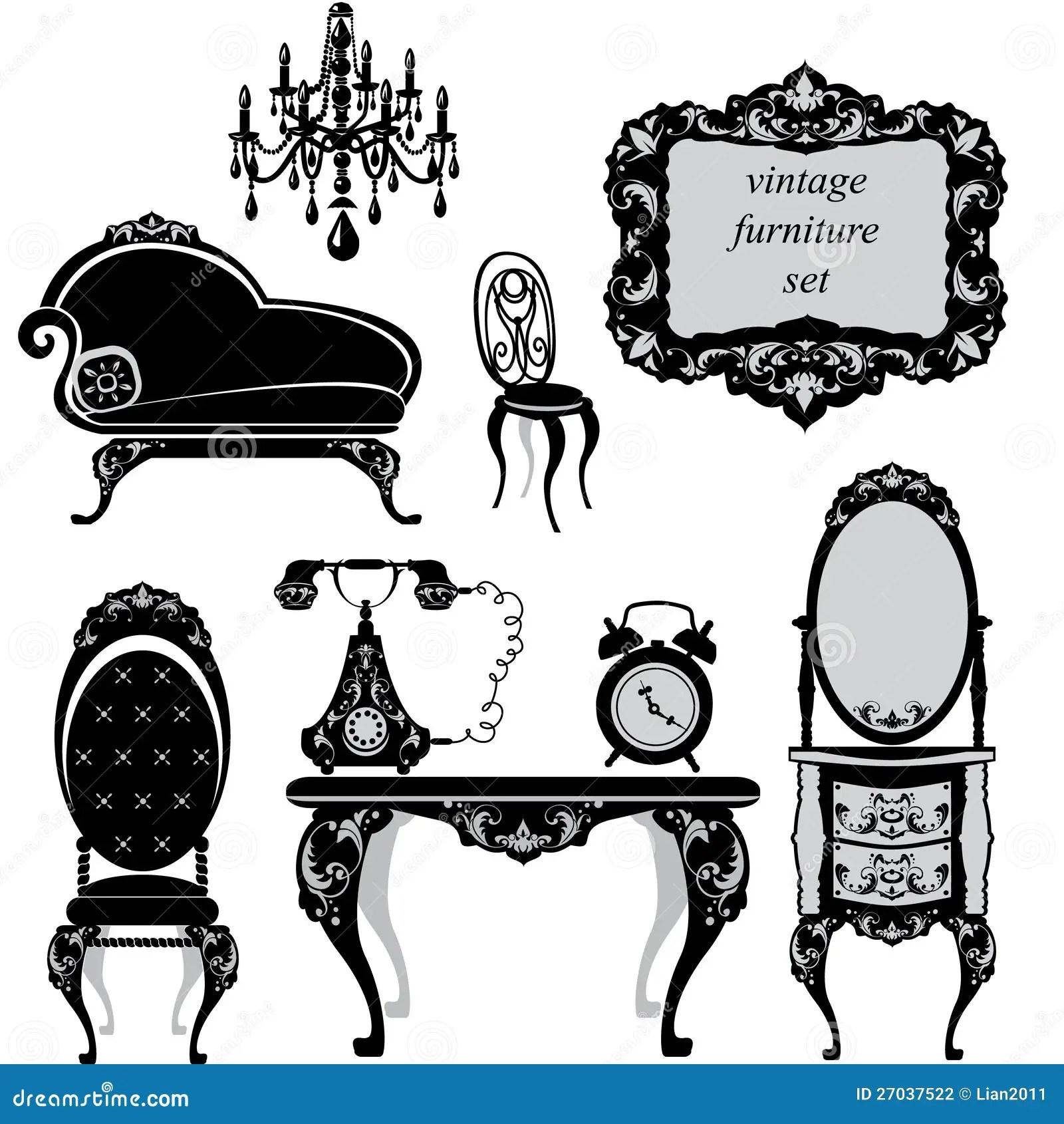 Set of antique furniture stock vector. Illustration of