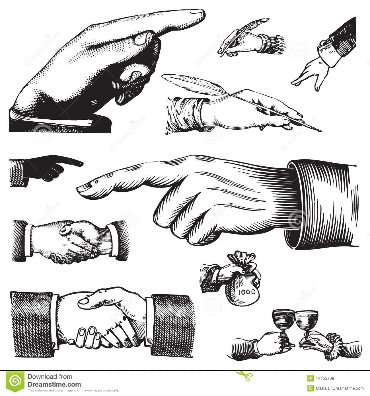 Set Of Antique Hands Vector Royalty Free Stock Photos