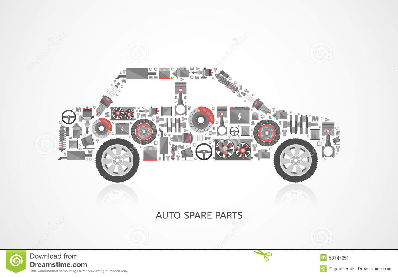 Set Of Auto Spare Parts Stock Vector Image Of Industry