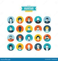 Set Of Avatar Flat Design Icons Stock Vector - Image: 40410989