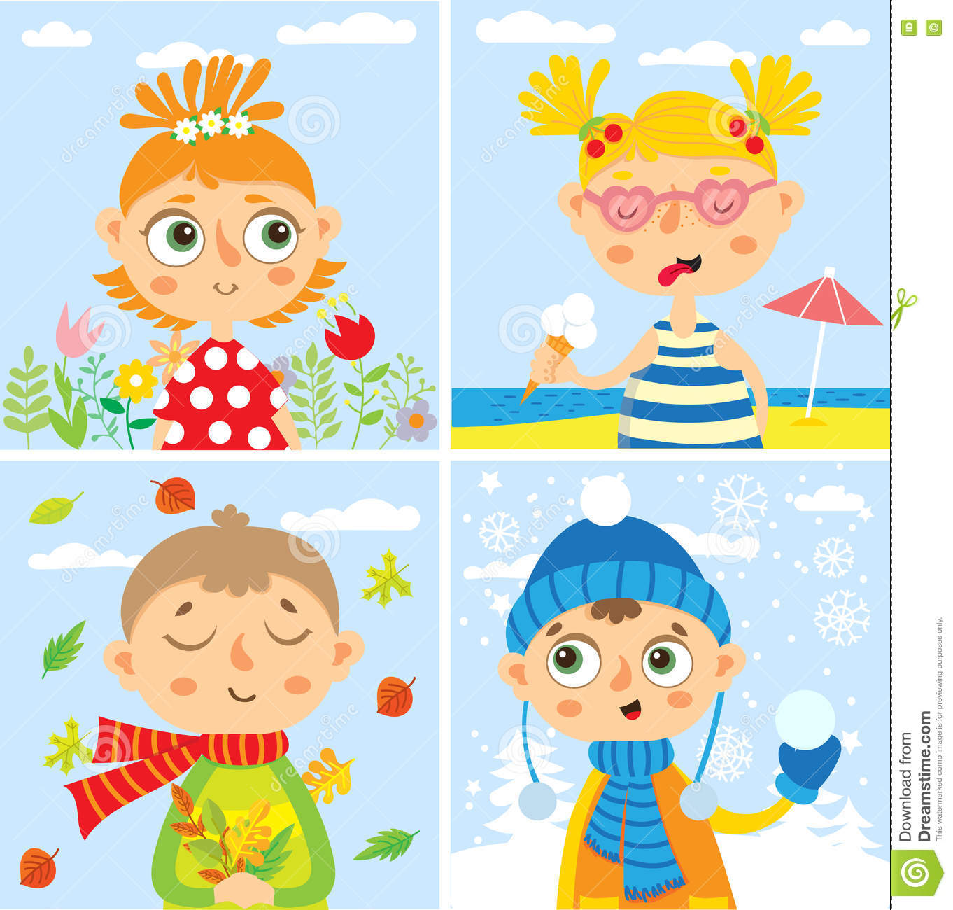 Set With Baby Four Seasons Stock Vector