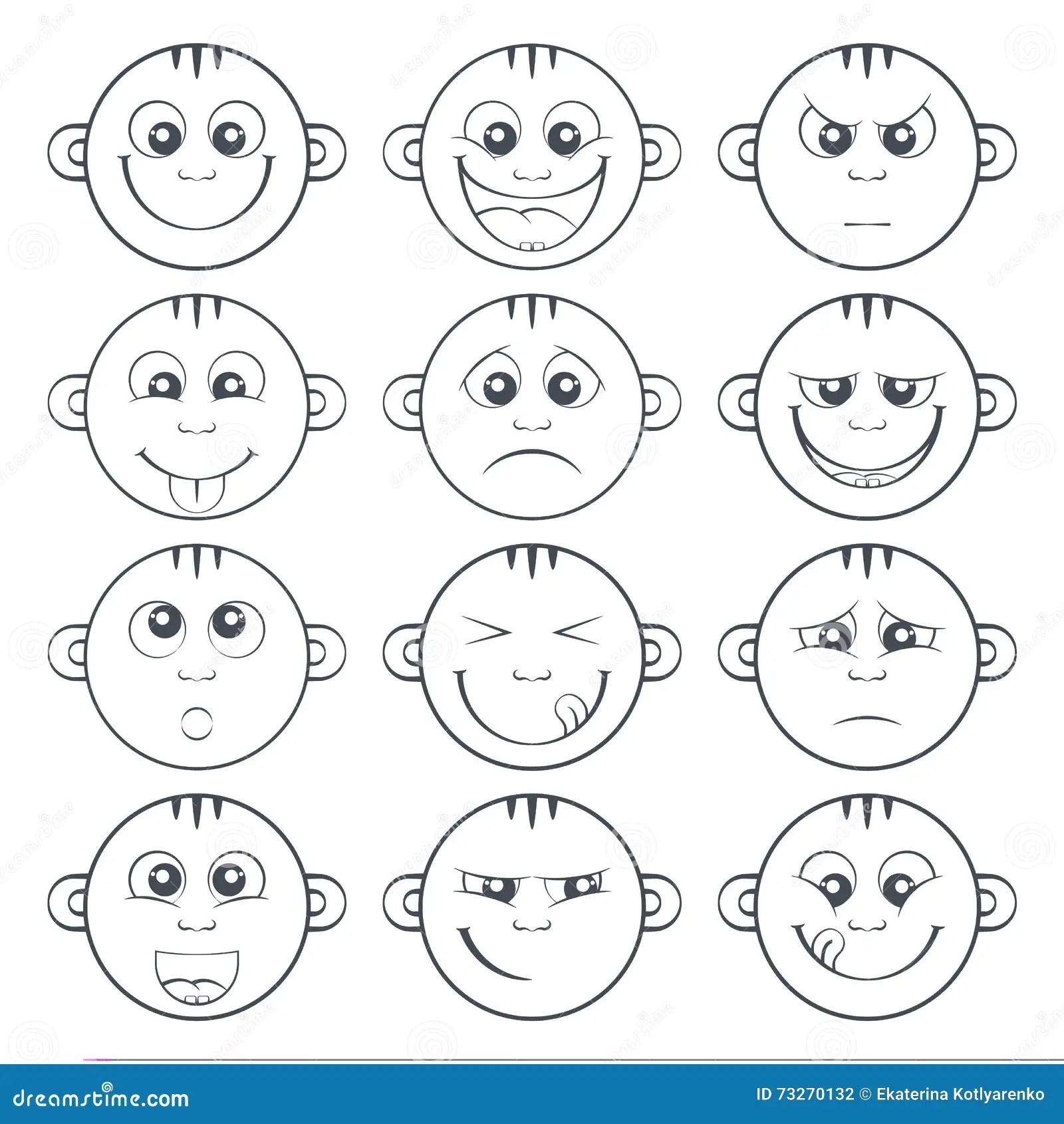 Set Of Baby Smiley Cute Cartoon Kids Emoticon Stock