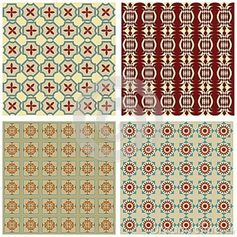 Set Of Background Tiles In Art Deco Style With Simple