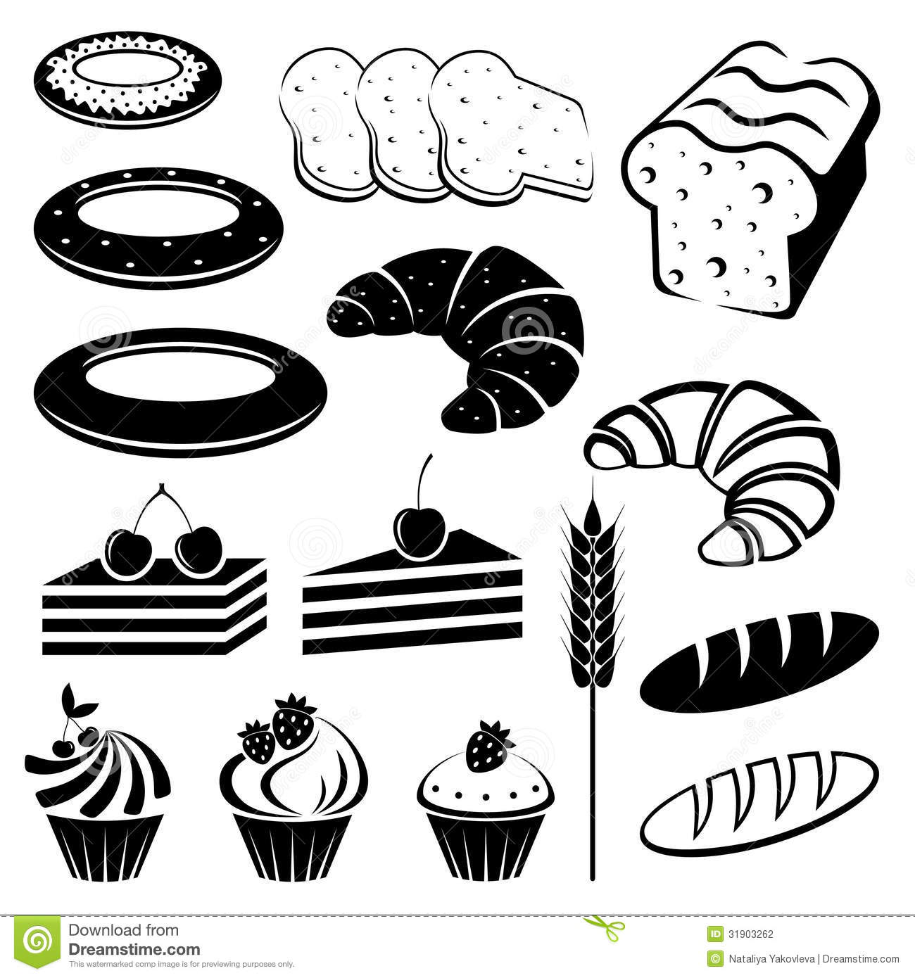 Set Of Baking And Bread Stock Vector Illustration Of