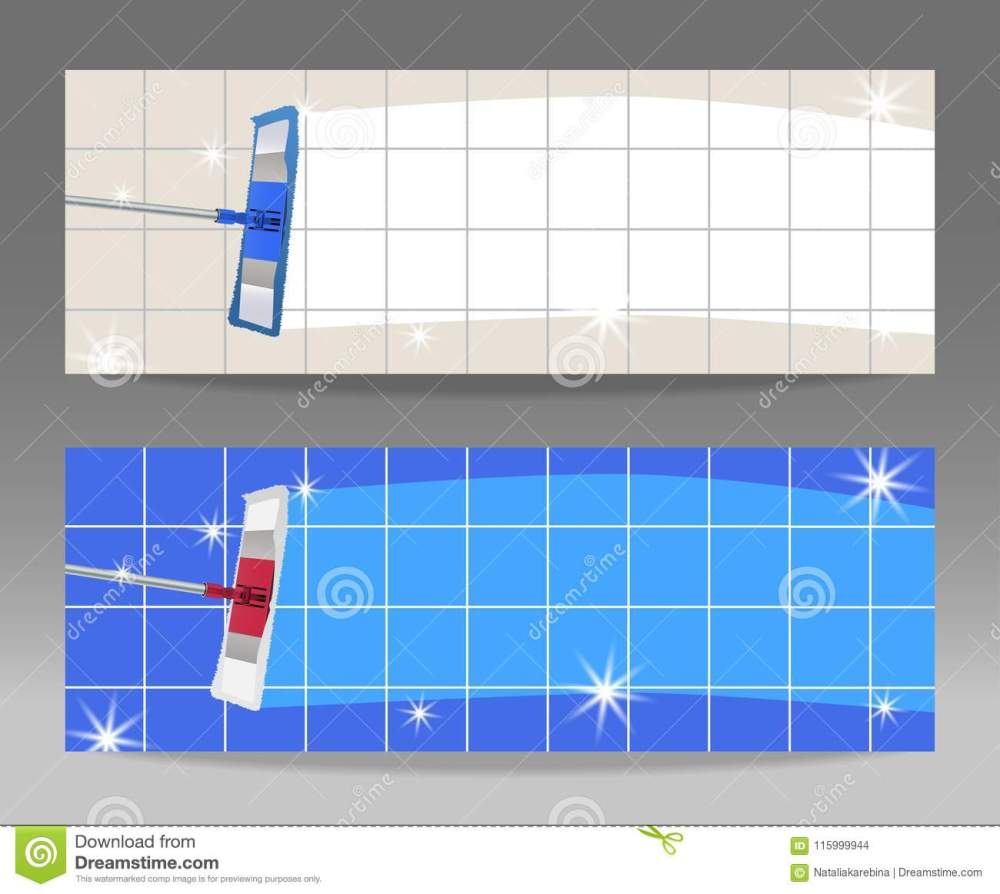 medium resolution of set banners mop cleaning clean tile floor shiny vector