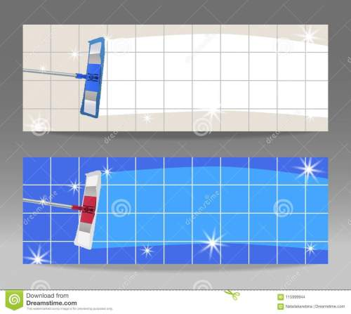 small resolution of set banners mop cleaning clean tile floor shiny vector