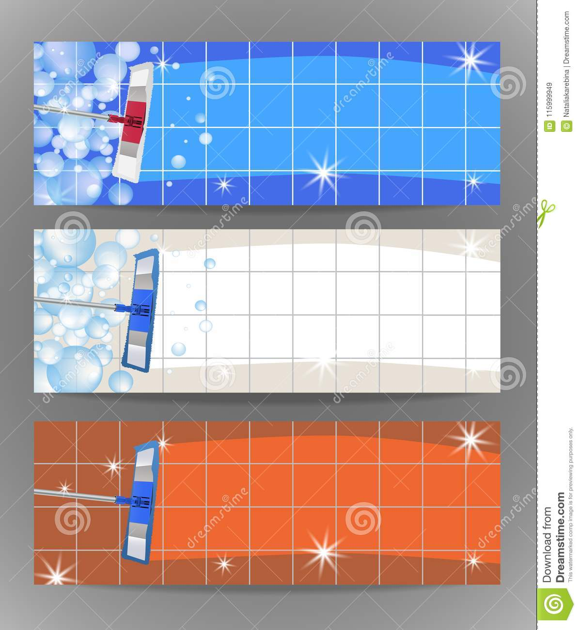 hight resolution of set banners mop cleaning clean tile floor shiny vector