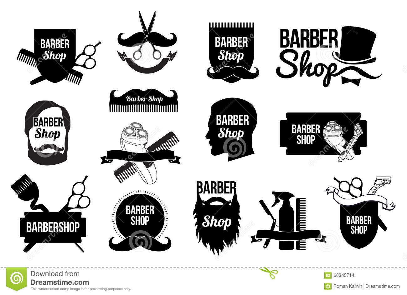 Set Of Barber Shop Logos And Designs Stock Vector