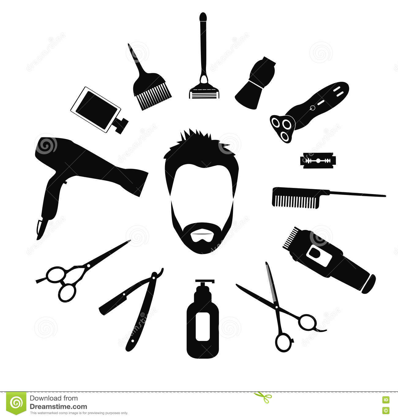 Barber Tools And Haircut Icons Set Vector Illustration