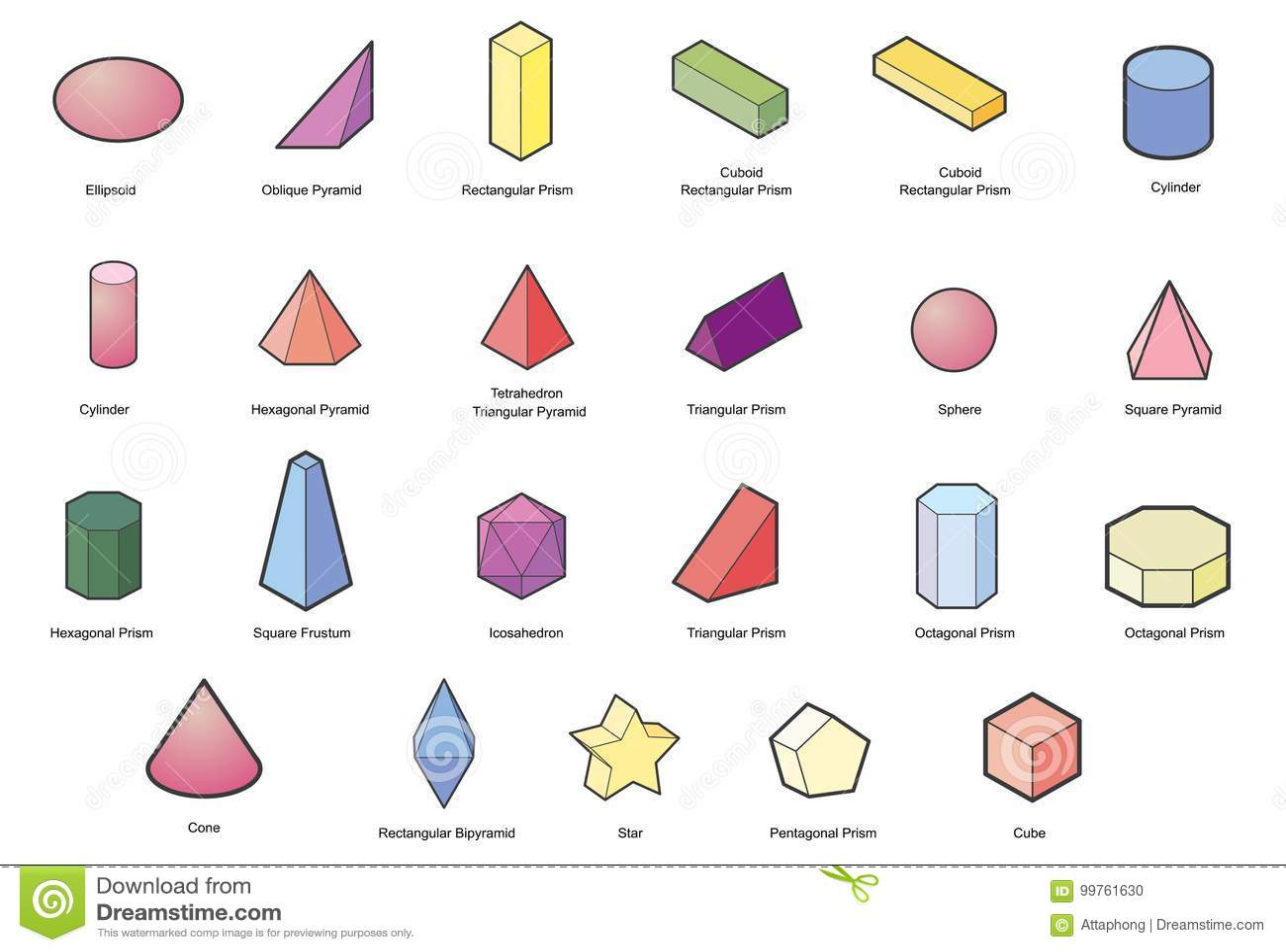Set Of Basic Geometric Shapes Geometric Solids Vector