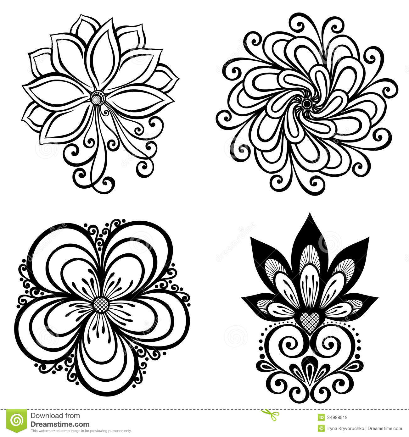 Set Of Beautiful Deco Flowers Royalty Free Stock Images