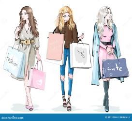 shopping vector bags met mode winkelen het sketch moda belle jonge mooie stylish illustrations insieme illustrazione della concetto modo young