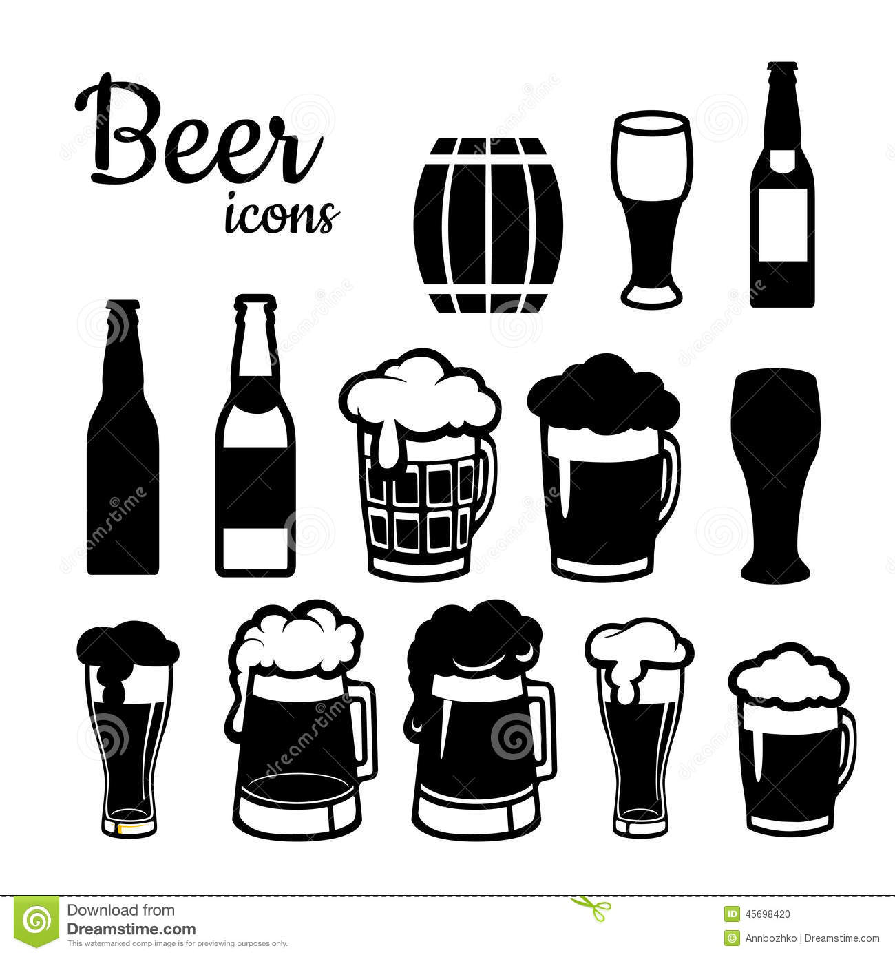 Set Of Beer Icons Stock Vector Image Of Restaurant