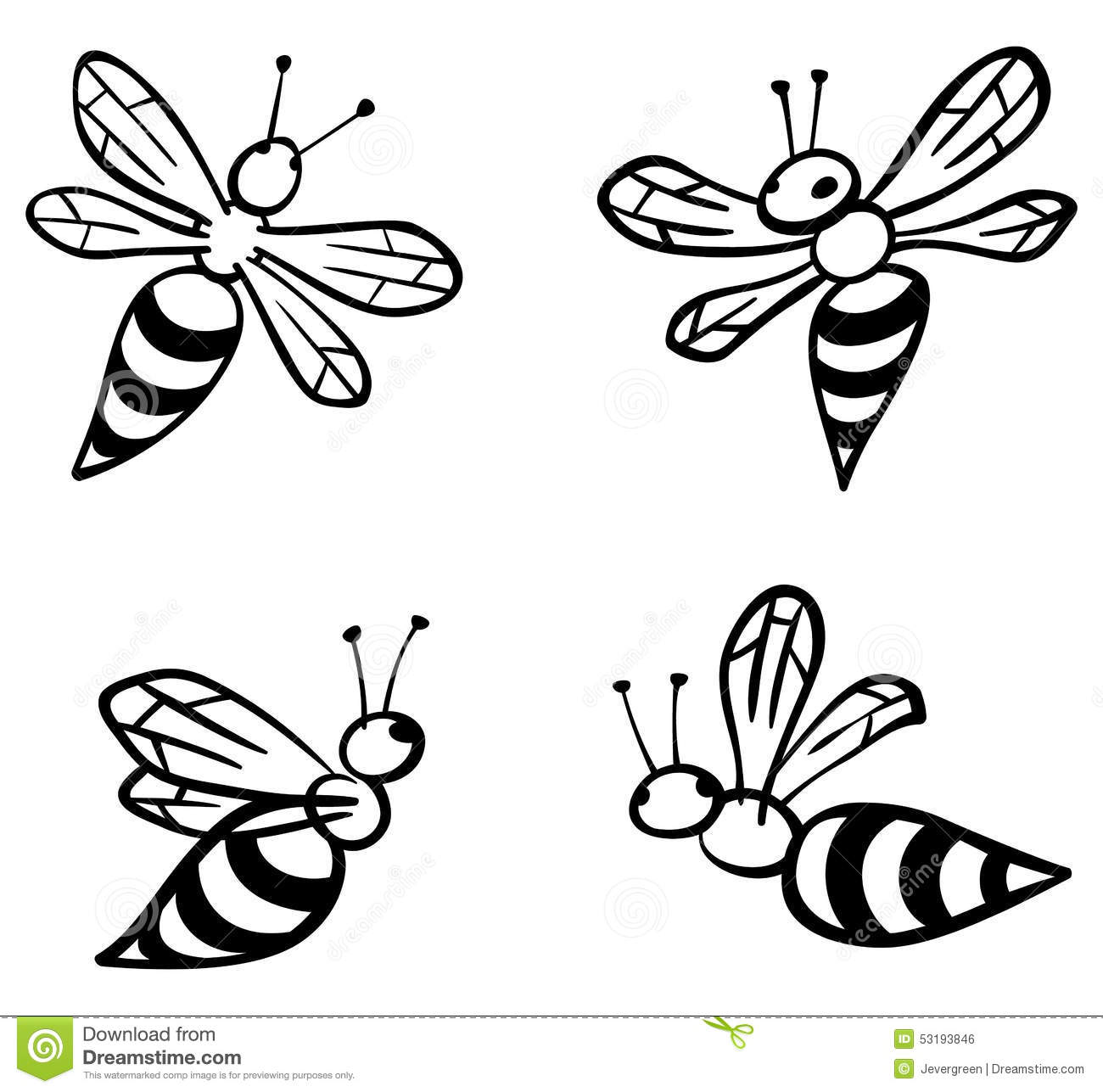 Set Of Bees Stock Illustration