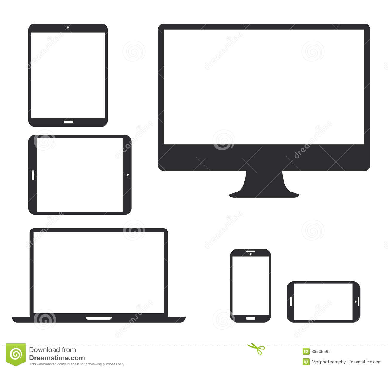 Set Of Black Electronic Device Silhouette Icons. V Stock