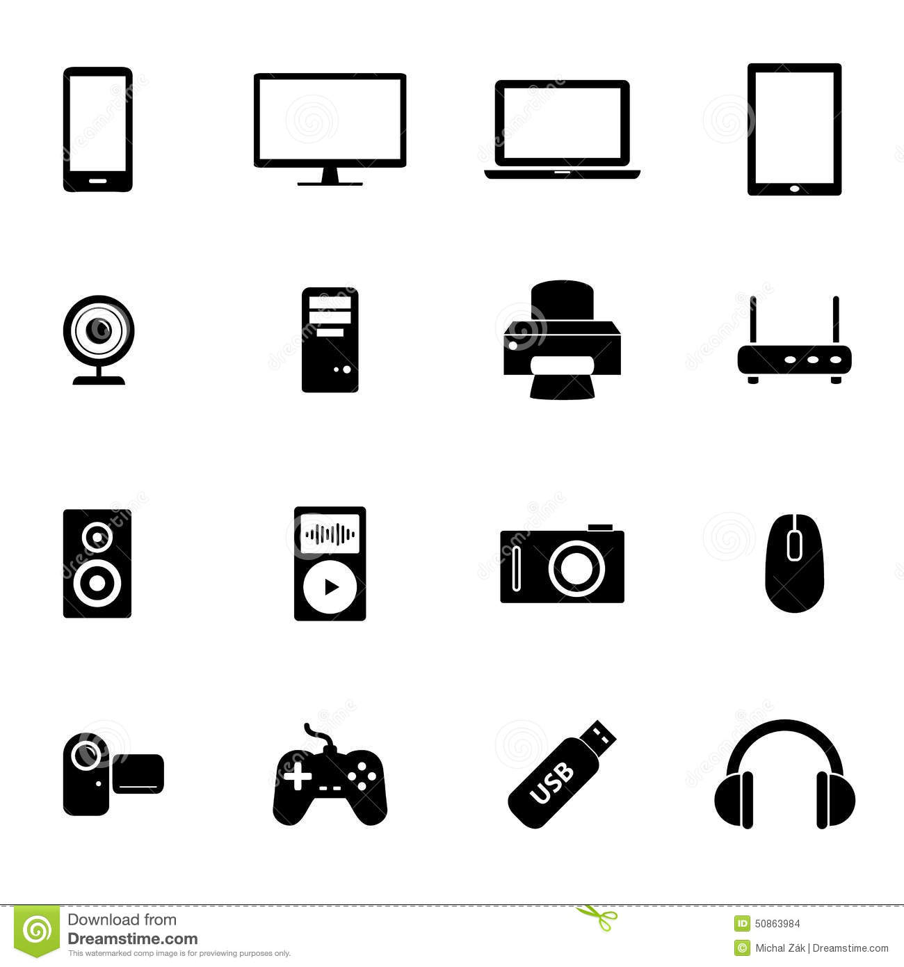 Set Of Black Flat Icons