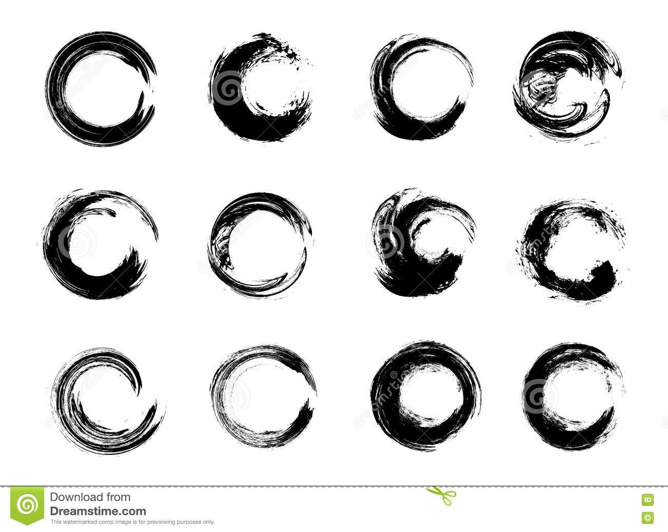 Set Of Black Grunge Circle Stains Vector Illustration