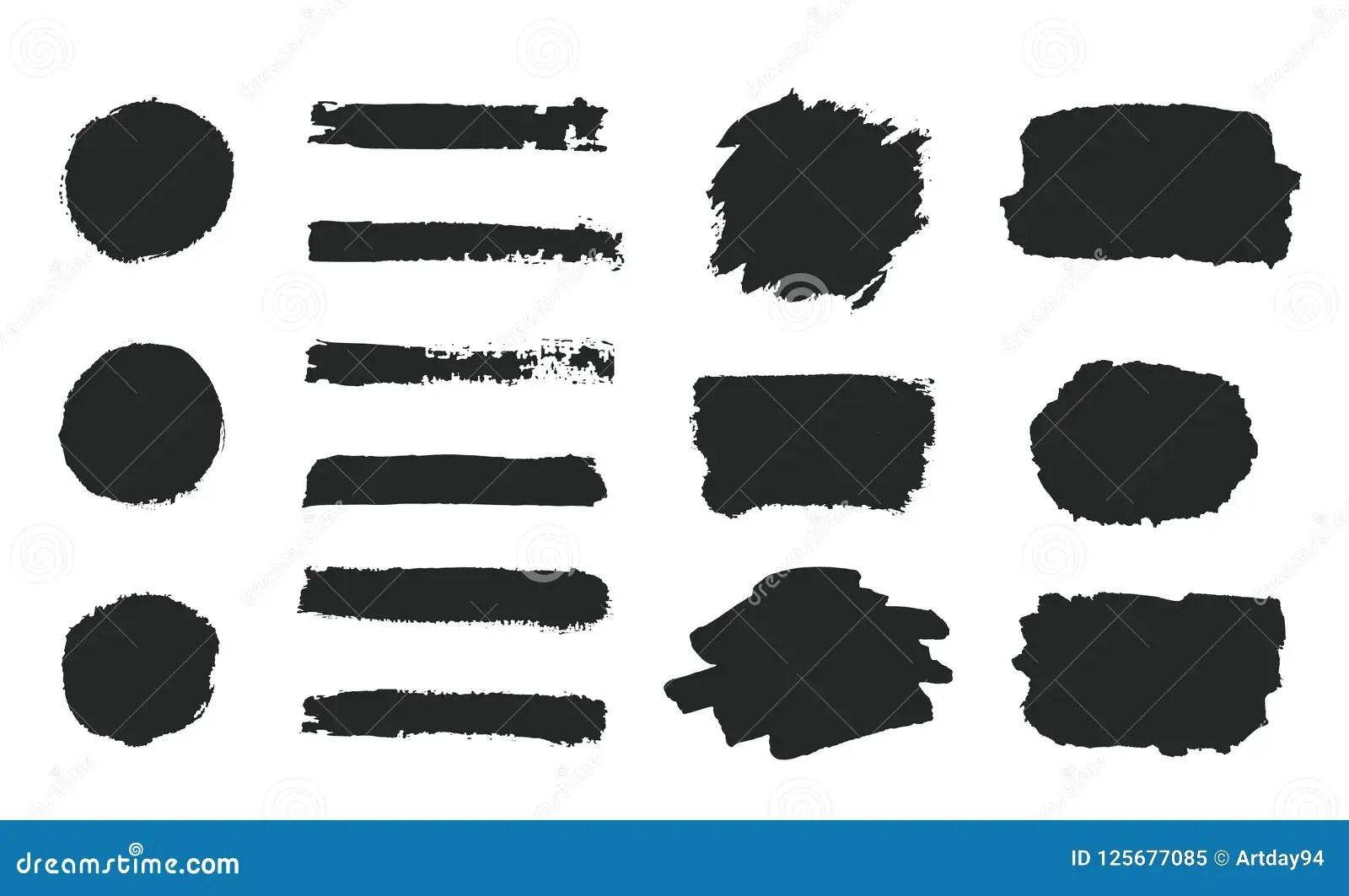 Set Of Black Grunge Hand Paint Round Shapes Stripes Ink