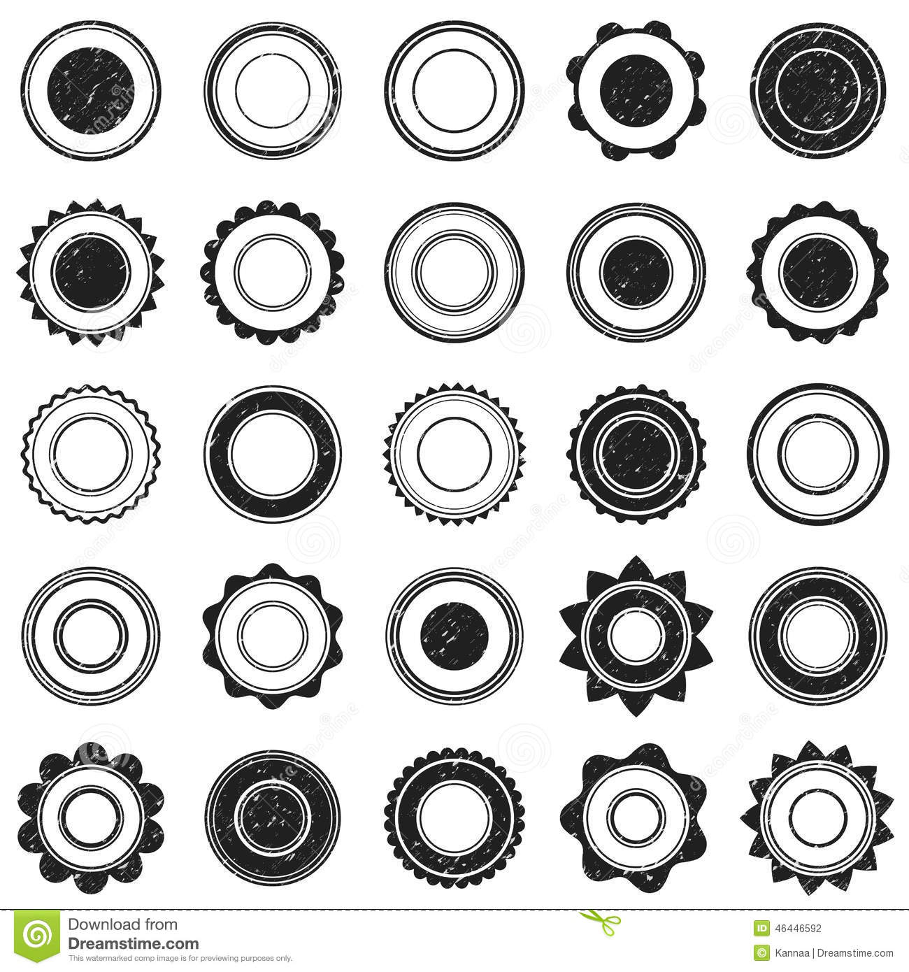 Set Of Black Grunge Stamp Round Shapes Vector Stock