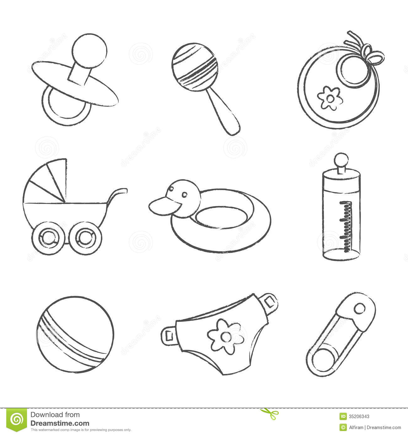 Set Of Black And White Baby Symbols Stock Vector
