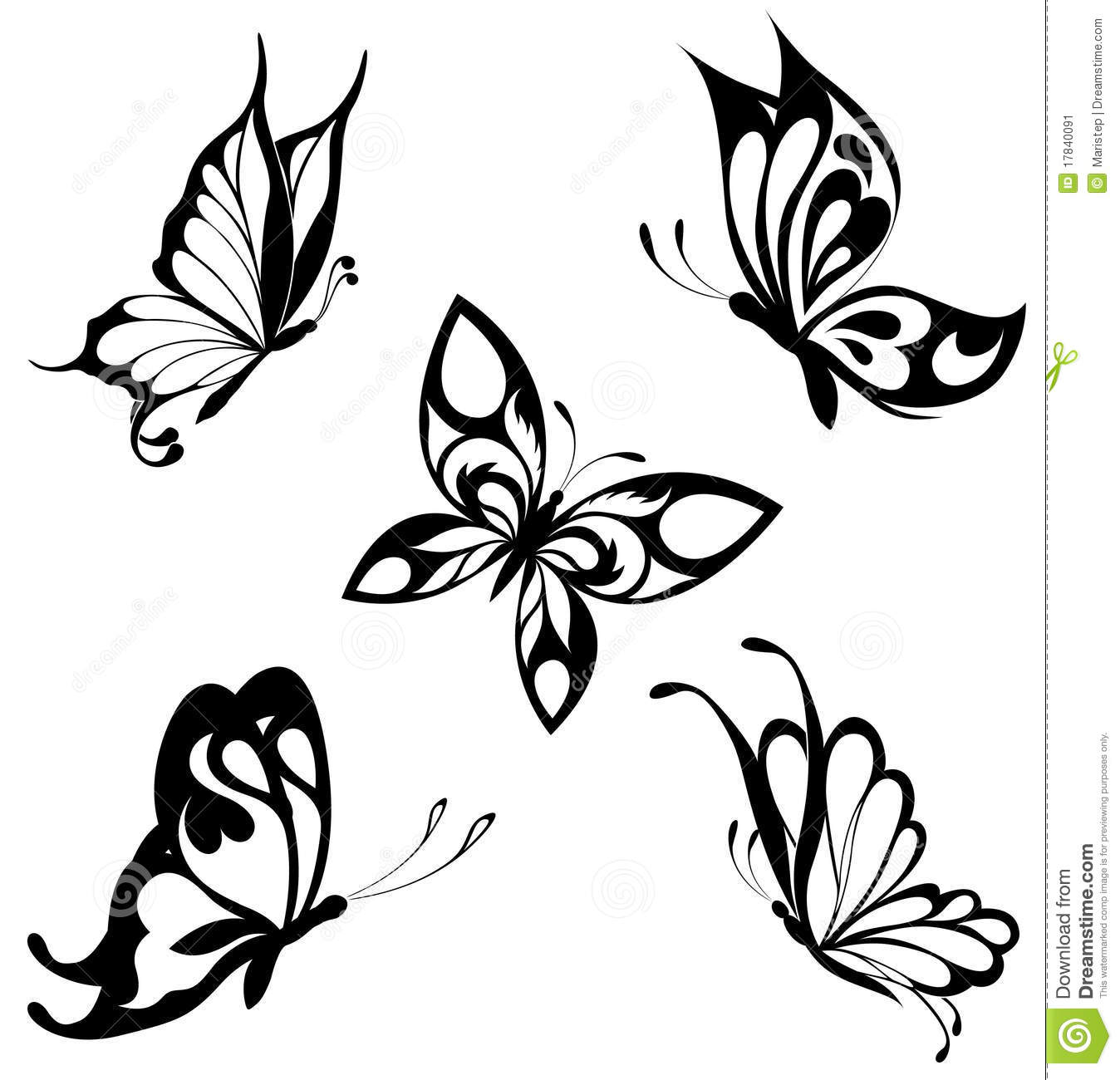 Set Black White Butterflies Of A Tattoo Stock Vector