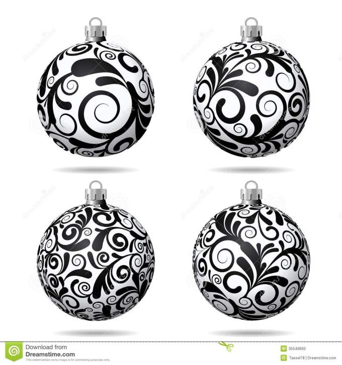 set of black and white christmas stock vector ilration - Black And White Christmas Ornaments
