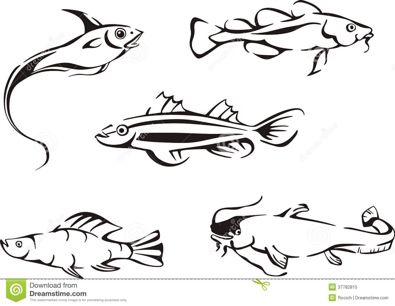 Set Of Black And White Fish Stock Vector