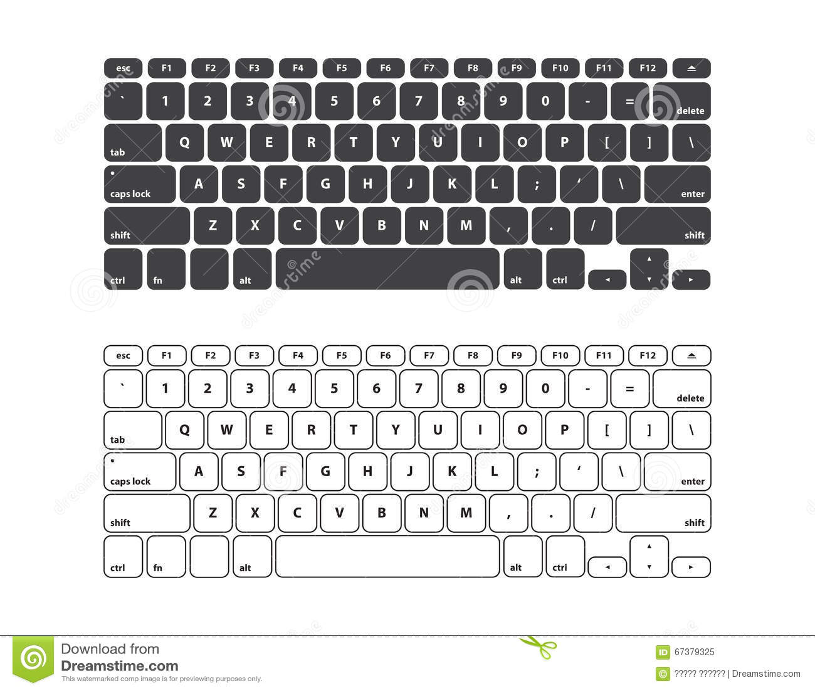 Set Black And White Keyboard Stroke Qwerty