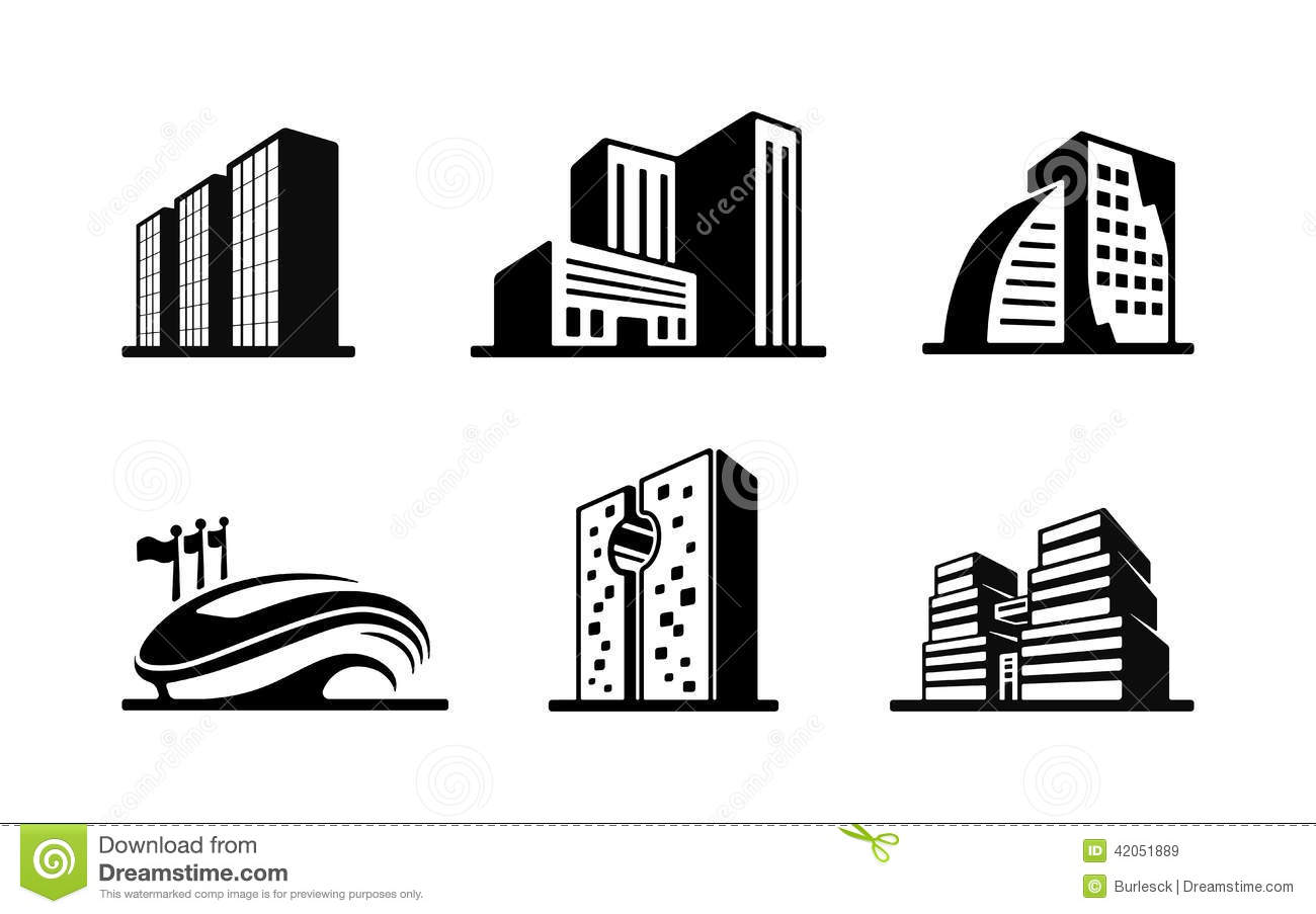 Set Of Black And White Vector Building Icons Stock Vector