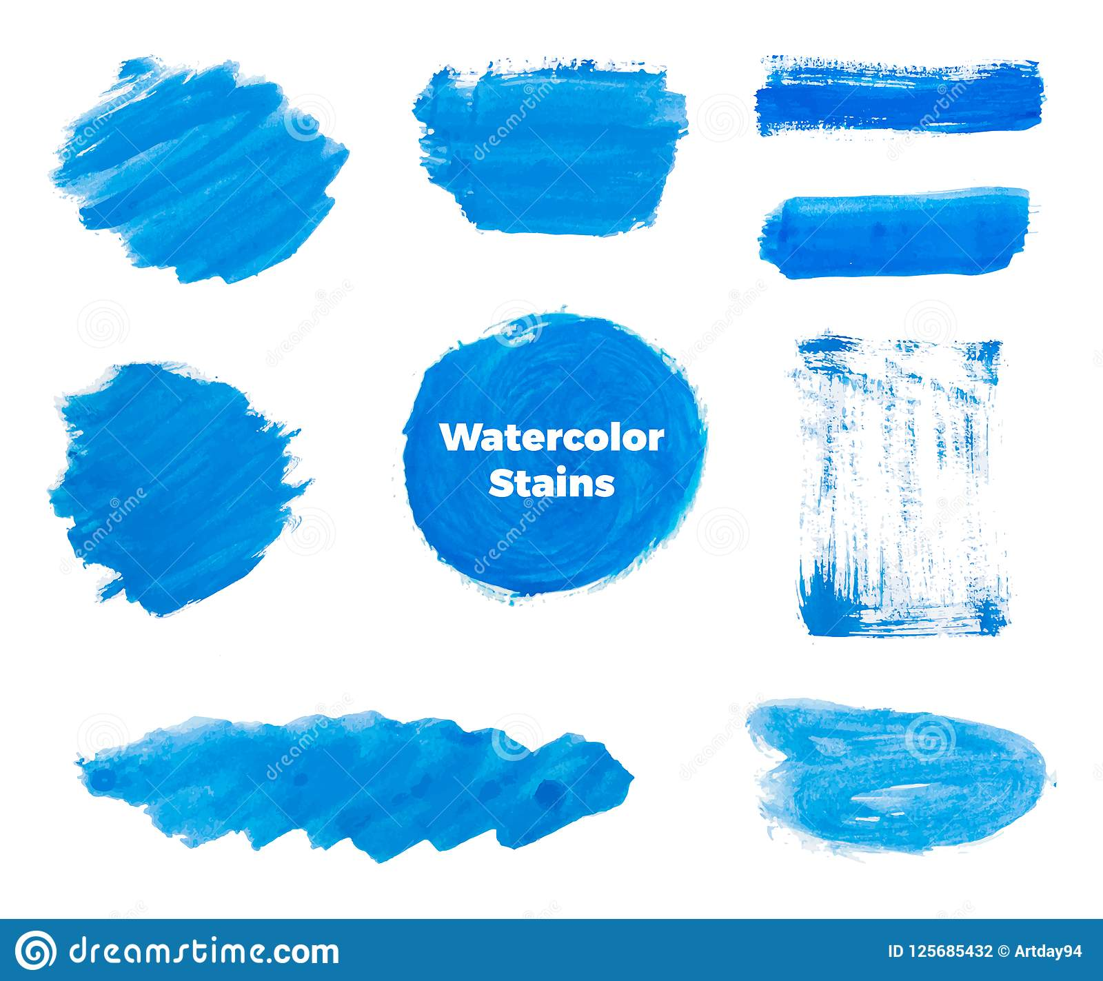 Set Of Blue Hand Paint Round Shapes Stripes Ink Brush