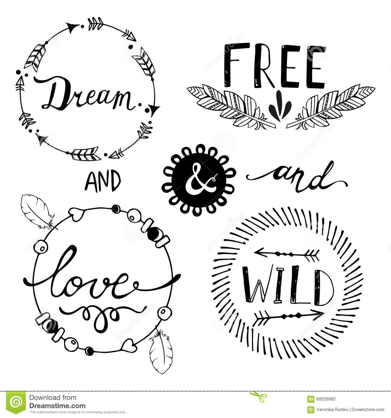 Set Of Boho Style Frames And Elements Vector Stock Vector