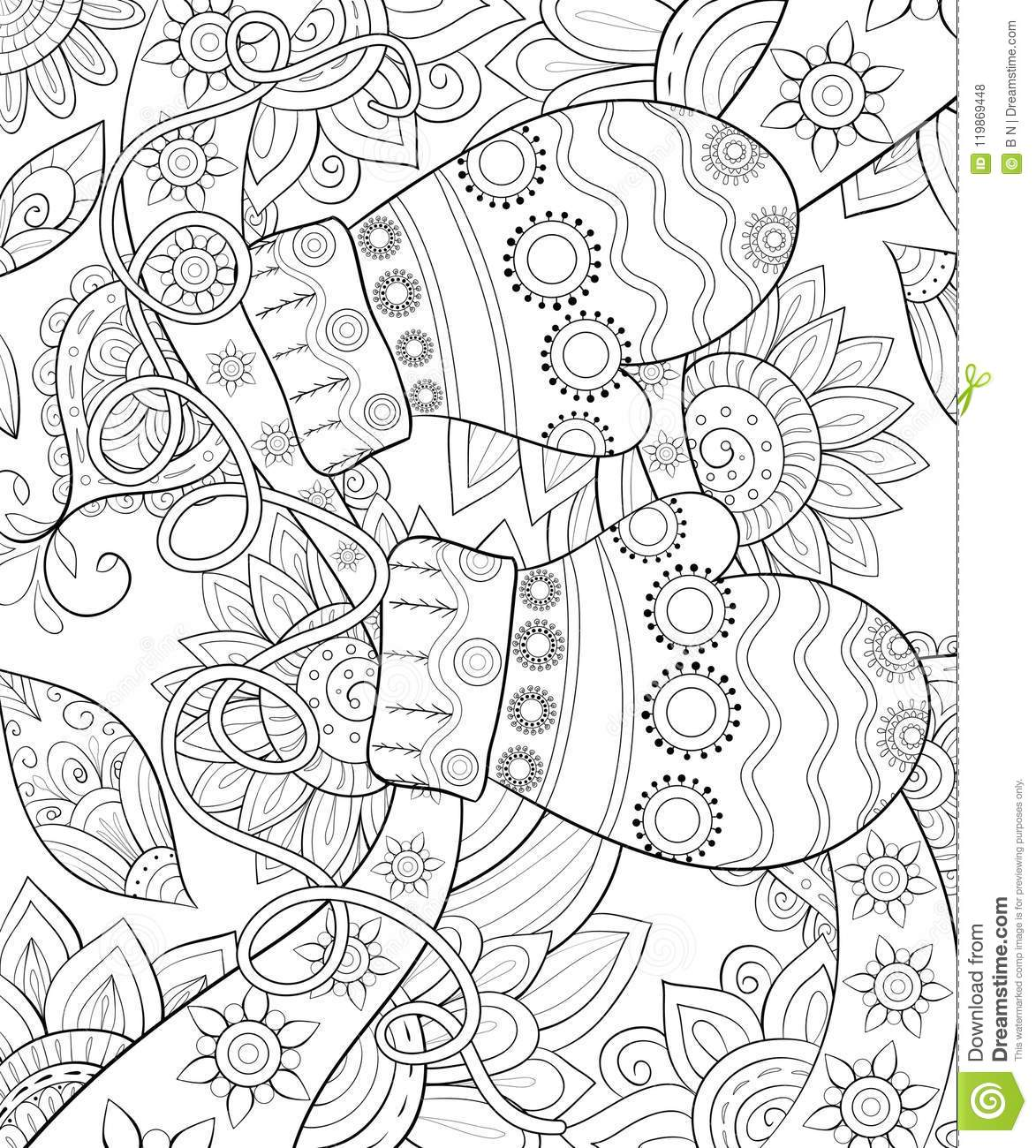 Adult Coloring Book Page A Christmas Gloves On The