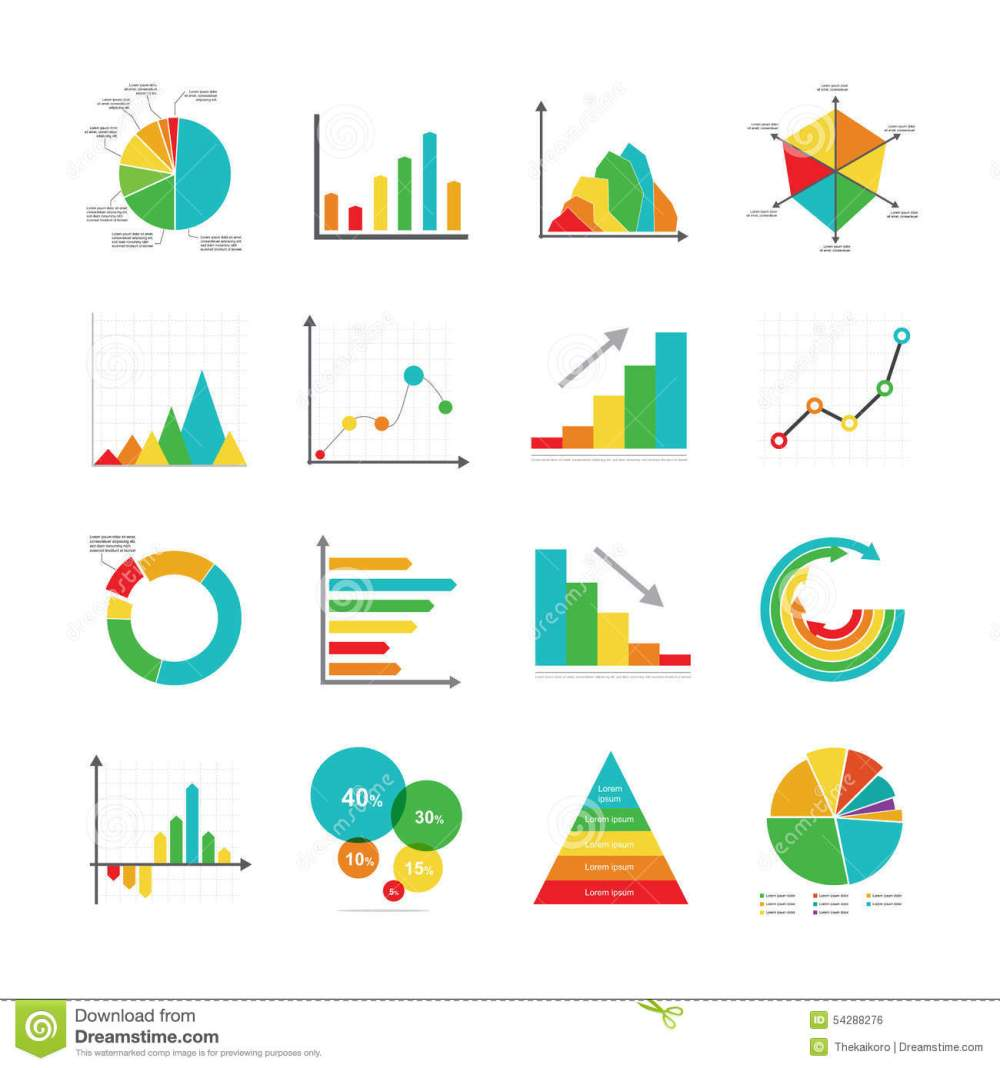 medium resolution of set of business marketing dot bar pie charts diagrams and graphs