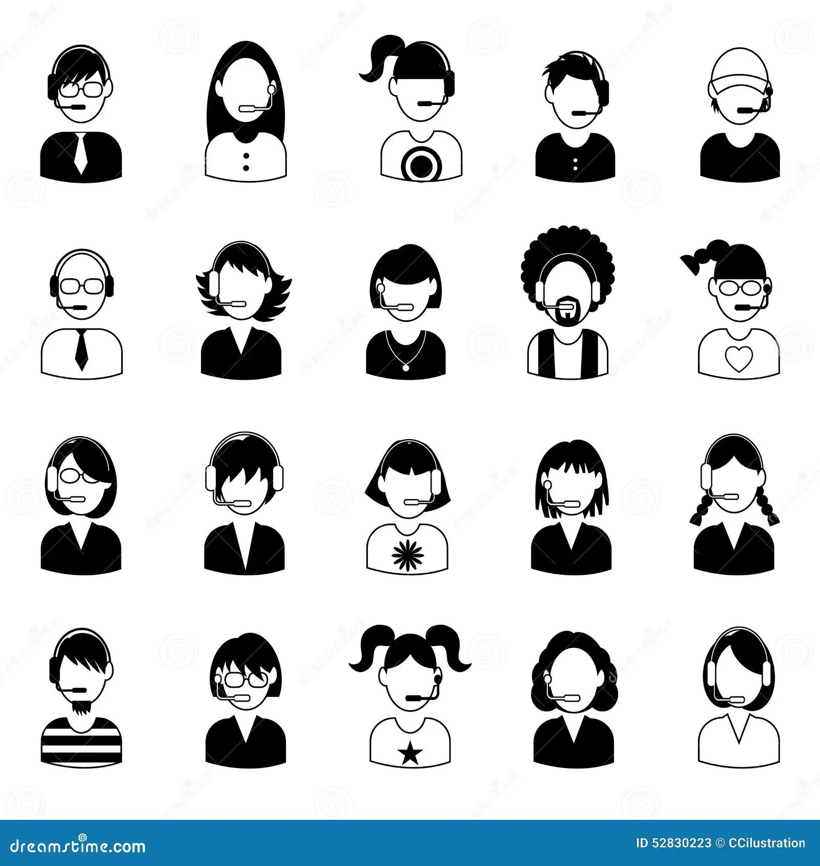 Set Of Call Center Operator Icons. Vector. Stock Vector