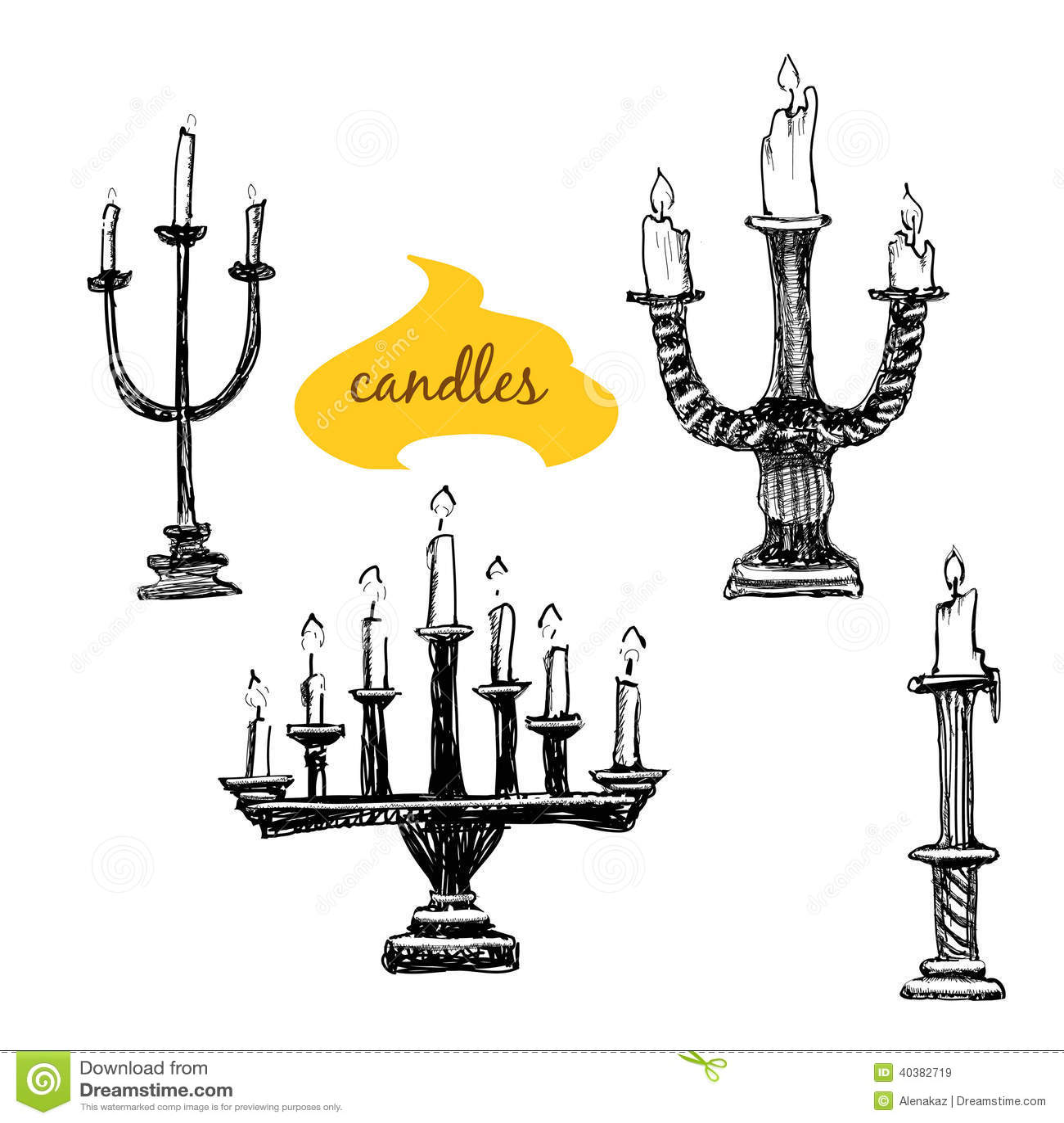 hight resolution of vector set of candlesticks cartoon vector