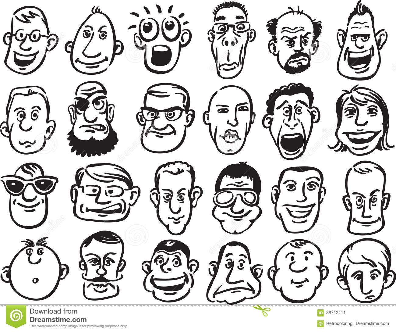 Set Of Caricature Faces Stock Vector Illustration Of