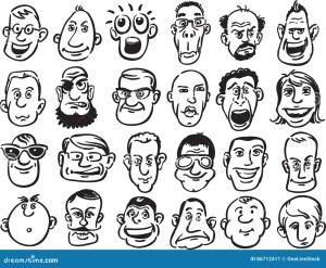 Cartoon Face Emotions Hand Drawn Set Stock Vector  Auto