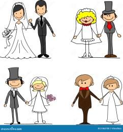 set cartoon bride and groom vector illustration picture [ 1388 x 1300 Pixel ]