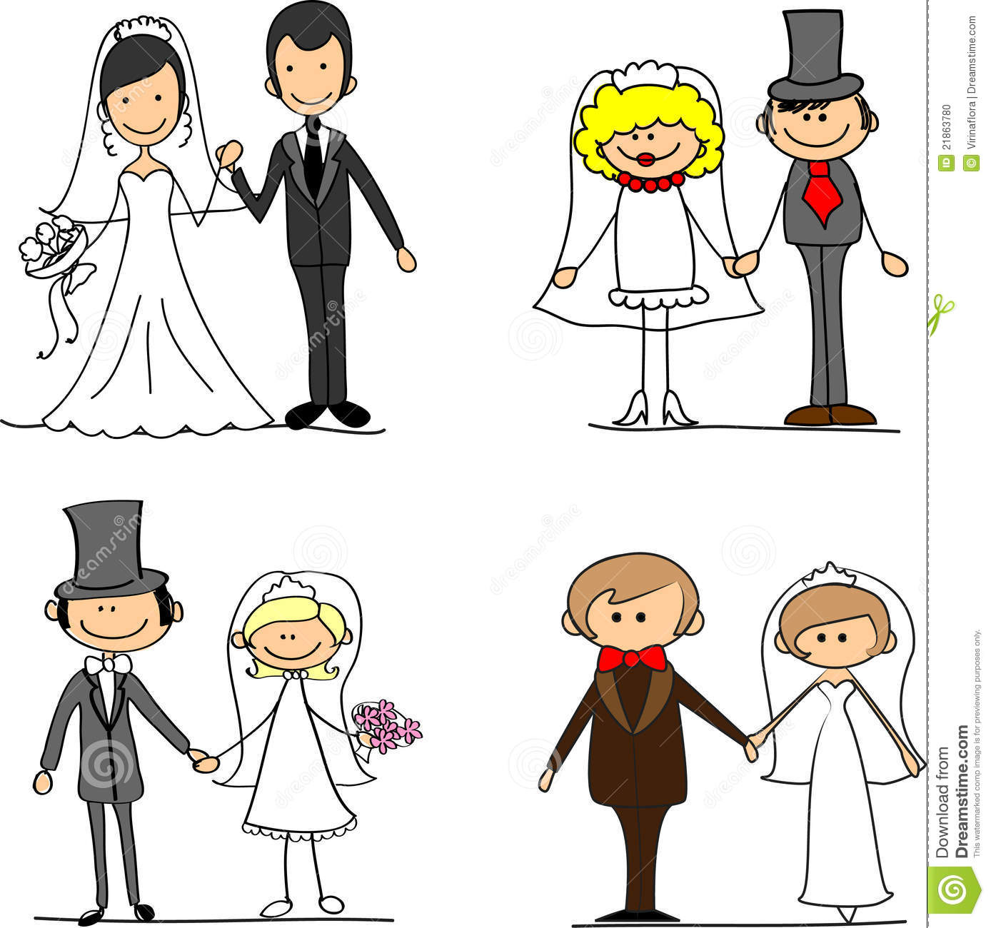 hight resolution of set cartoon bride and groom vector illustration picture