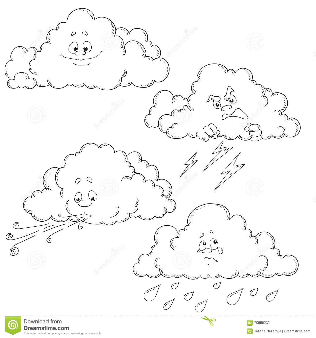 Coloring Weather Characters Set Cartoon Vector