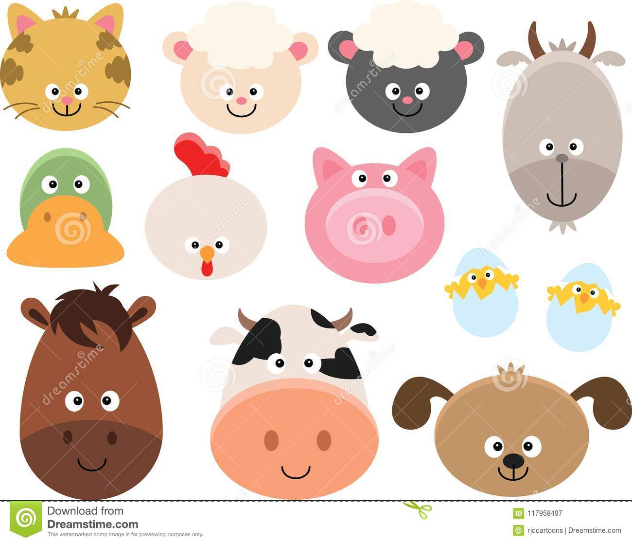 hight resolution of farm animal faces clipart set