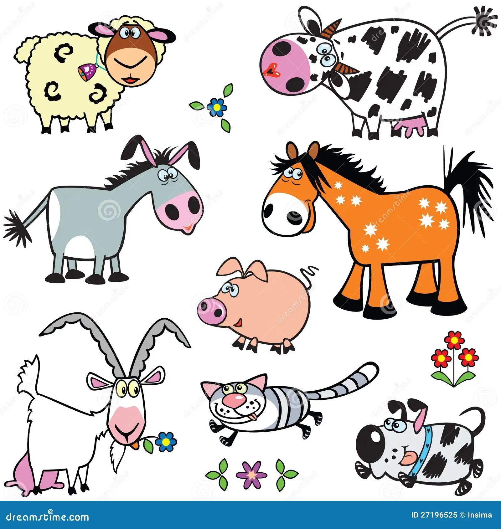 Set With Cartoon Farm Animals Stock Vector