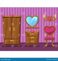 Set Cartoon Girlish Pink Living Room Stock Vector - Image ...