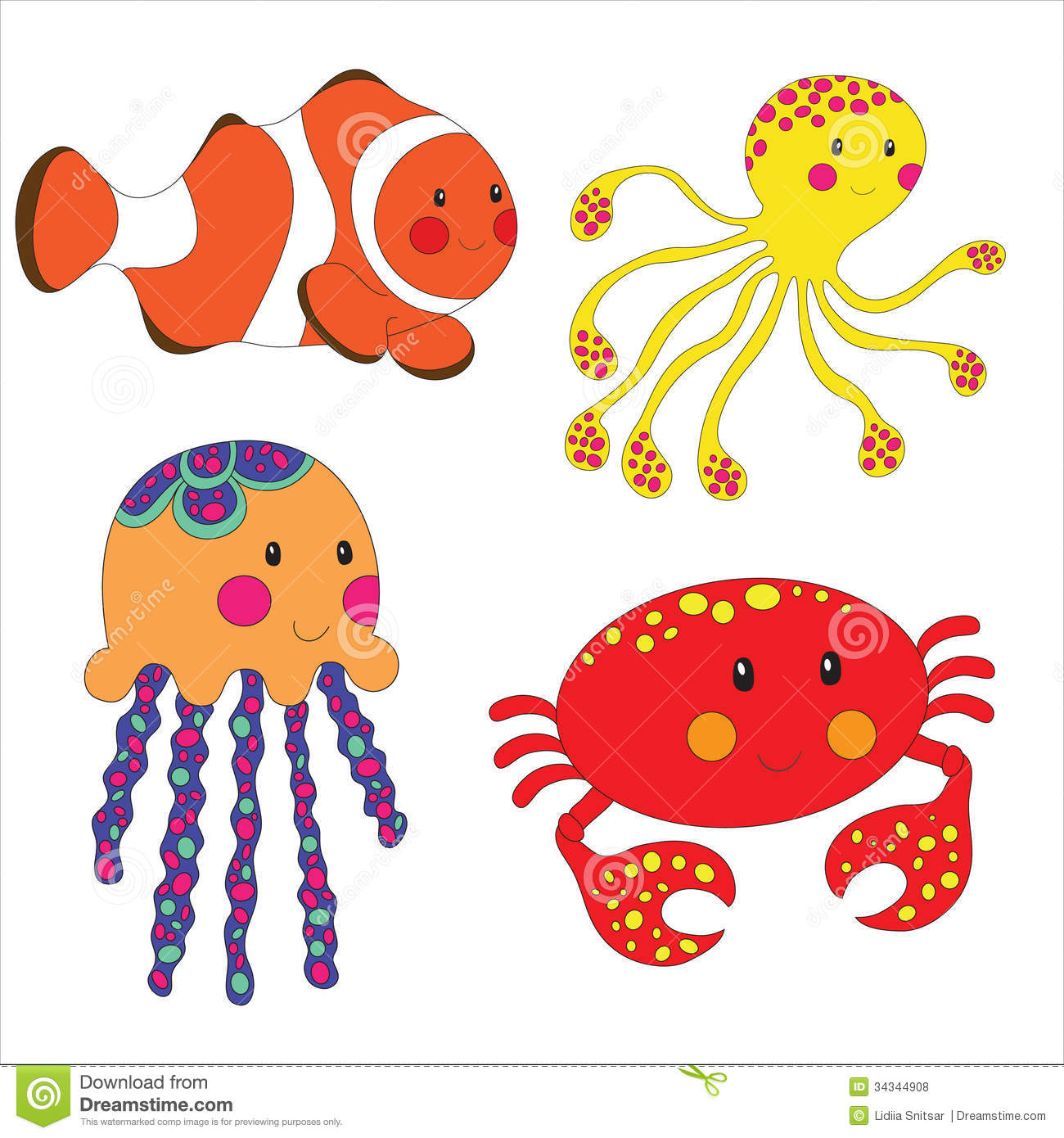 Set Of Cartoon Sea Creatures Stock Illustration