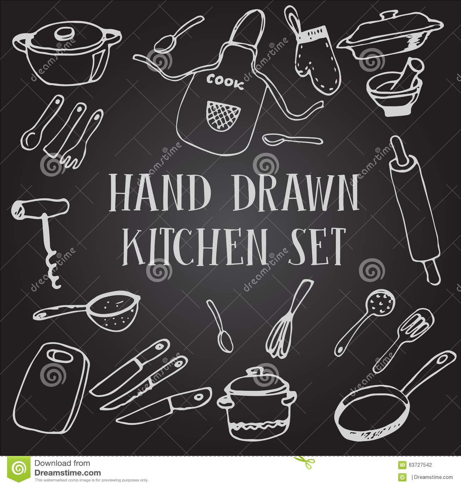 Set chalk drawing kitchen stock illustration Illustration