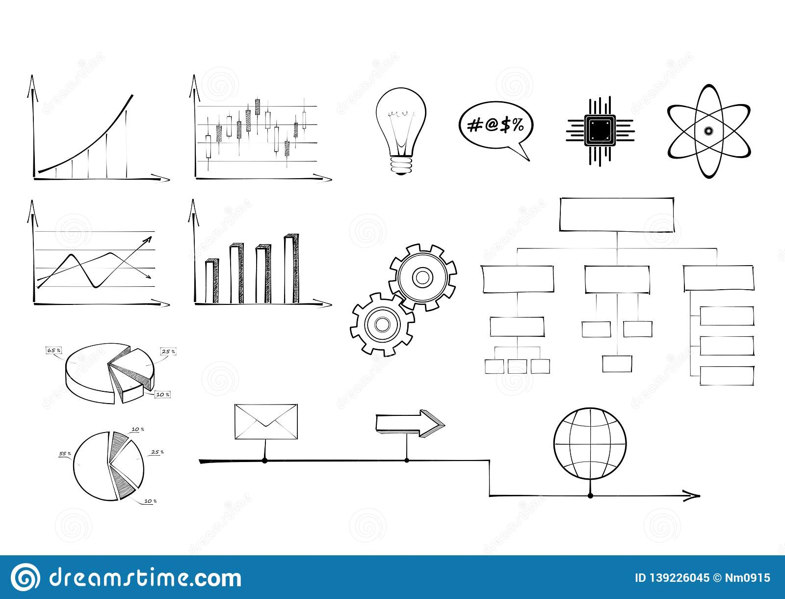 hight resolution of set of charts technology and science signs diagram circle pie line and colum chart organization chart infographic template gear bulb atom envelope