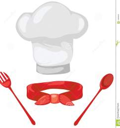 set of chef hat red scarf spoon and fork [ 1313 x 1300 Pixel ]