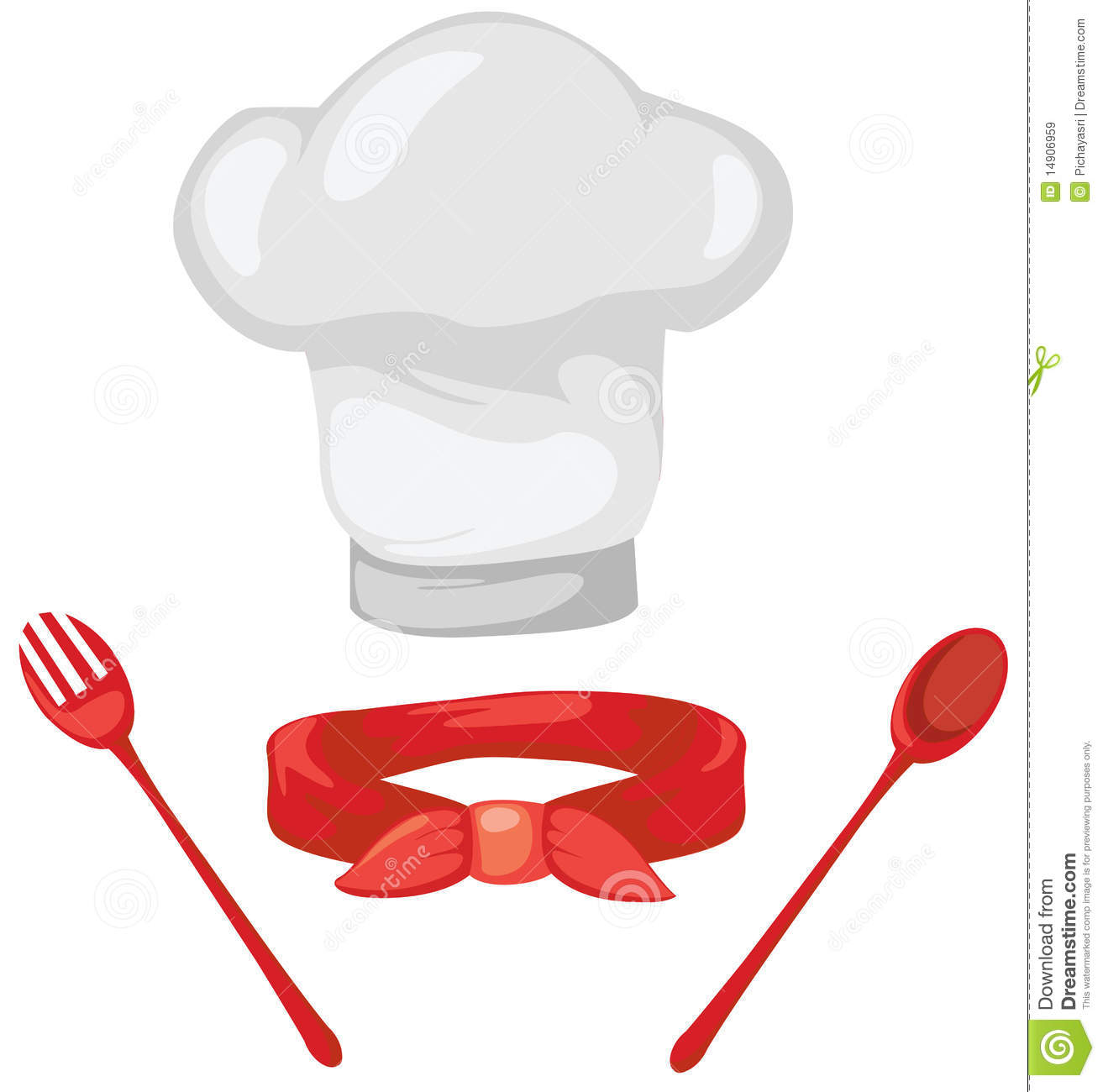 hight resolution of set of chef hat red scarf spoon and fork