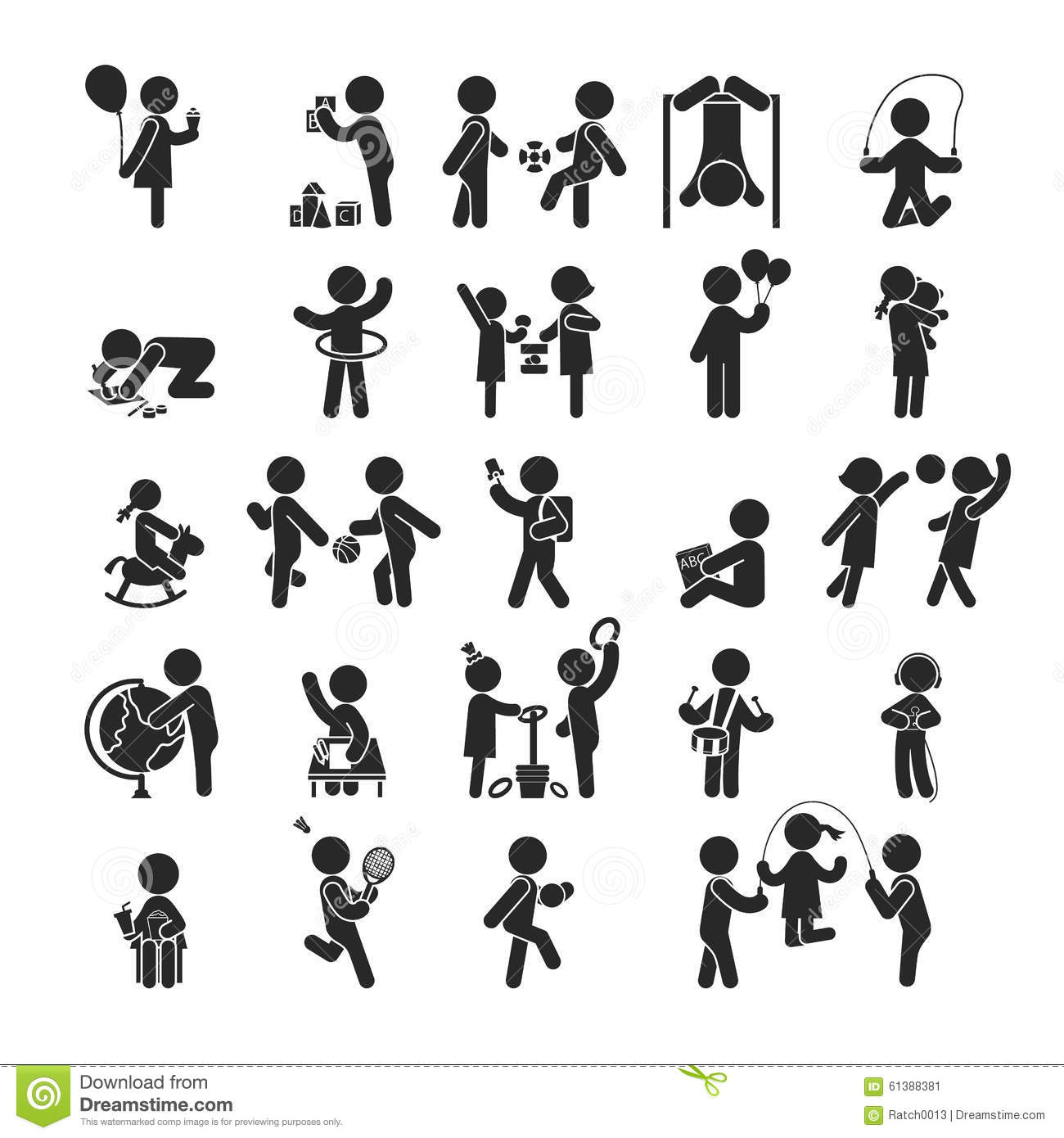 Set Of Children Activities Play And Learn Human Pictogram